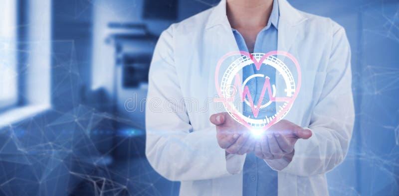 Image composée de la section médiane du docteur féminin se tenant avec des mains évasées photos stock