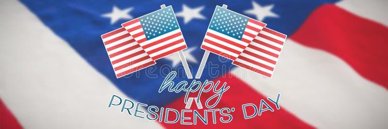 Image composée de la typographie heureuse de jour de présidents et de deux drapeaux américains photographie stock libre de droits