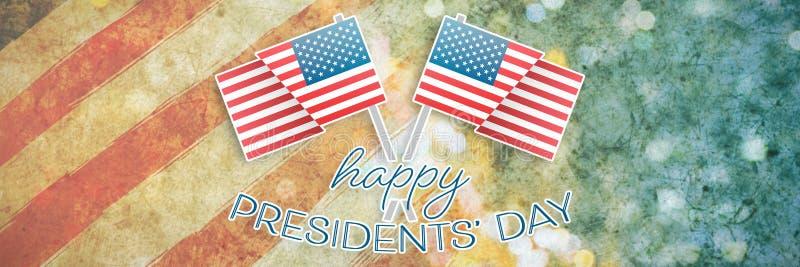 Image composée de la typographie heureuse de jour de présidents et de deux drapeaux américains image stock