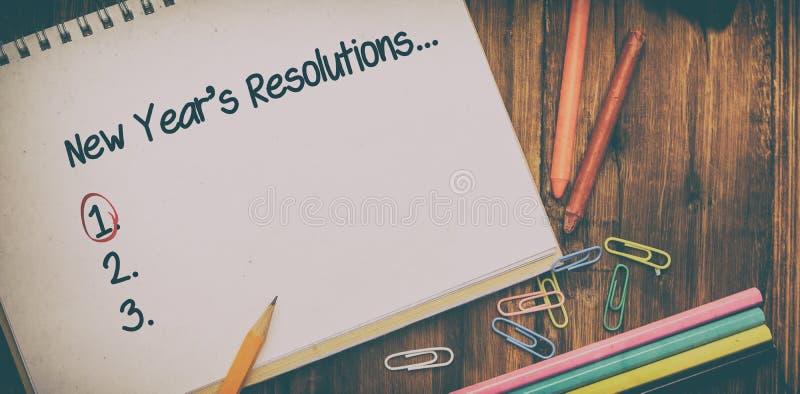 Image composée de liste de résolution de nouvelles années photo stock