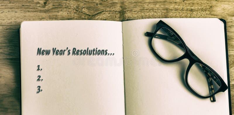 Image composée de liste de résolution de nouvelles années images stock