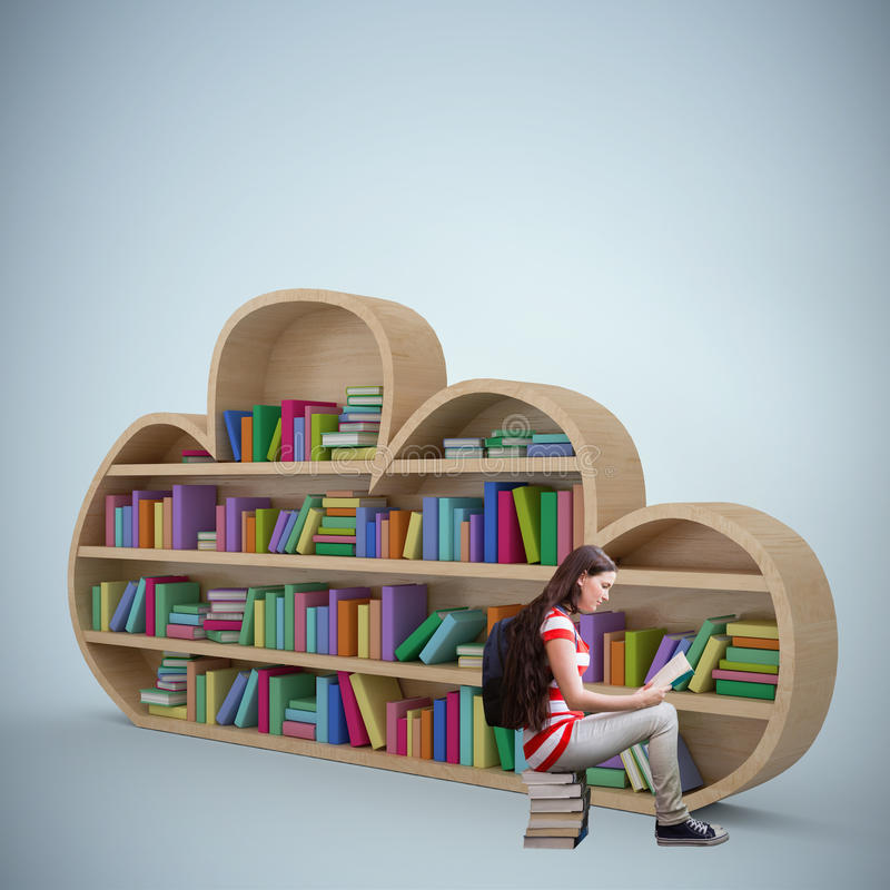 Image composée de livre de lecture d'étudiant dans la bibliothèque illustration de vecteur