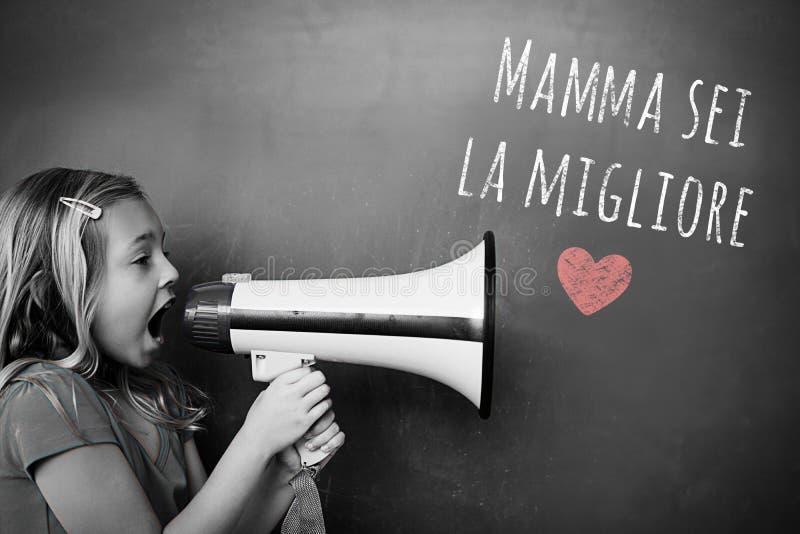 Image composée de message italien de jour de mères photo libre de droits