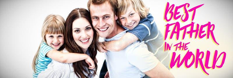 Image composée de parent heureux donnant sur le dos à leurs childs photographie stock