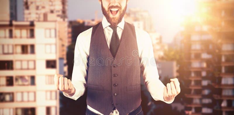 Image composée de portrait d'homme d'affaires gai photo stock