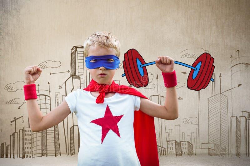 Image composée de portrait de garçon de super héros avec des bras augmentés illustration libre de droits