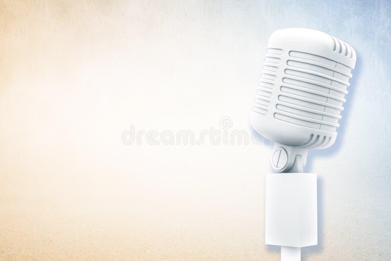 Image composée de rétro microphone blanc digitalement produit illustration libre de droits