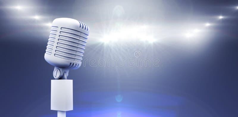 Image composée de rétro microphone blanc digitalement produit illustration stock
