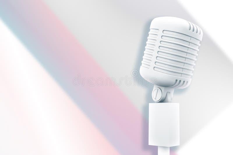Image composée de rétro microphone blanc digitalement produit illustration de vecteur