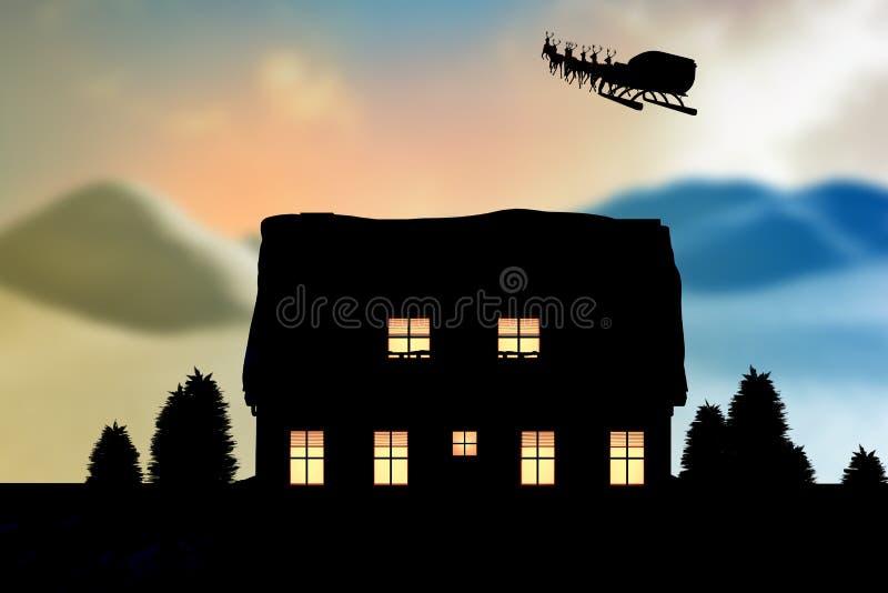 Image composée de renne tirant le traîneau vide avec des cadeaux pendant le Noël illustration libre de droits