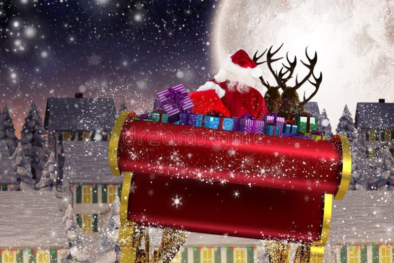 Image composée de Santa pilotant son traîneau illustration stock