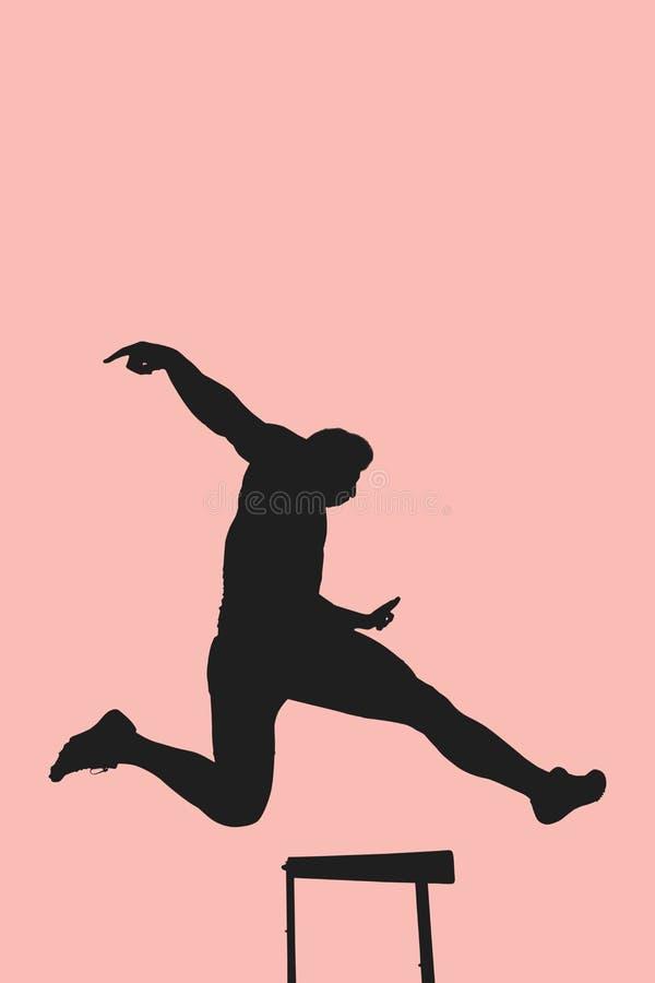 Image composée de sauter de pratique d'exposition de femme sportive illustration libre de droits