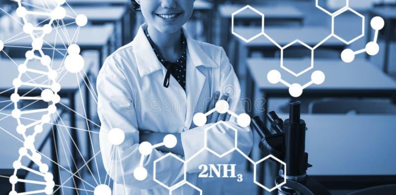 Image composée de structure d'hélice d'ADN sur le fond blanc illustration de vecteur
