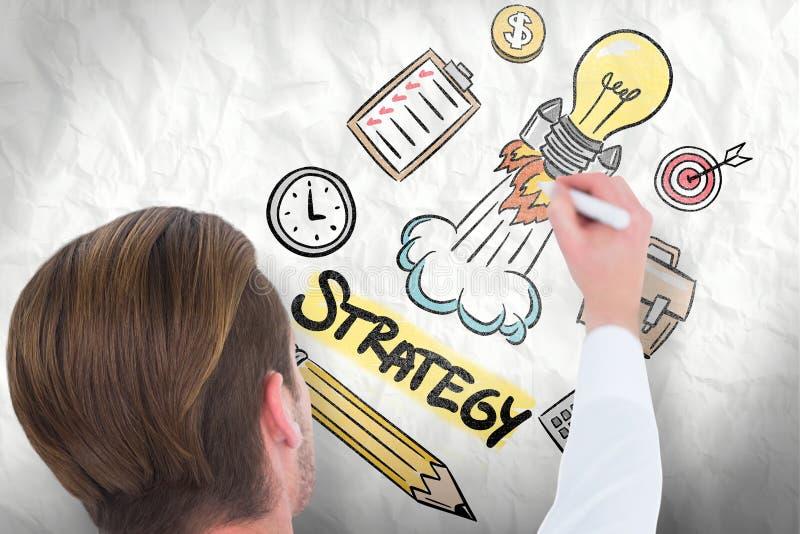 Download Image Composée De Vue Arrière De L'écriture D'homme D'affaires Avec Le Marqueur Photo stock - Image du fixation, digital: 56479548