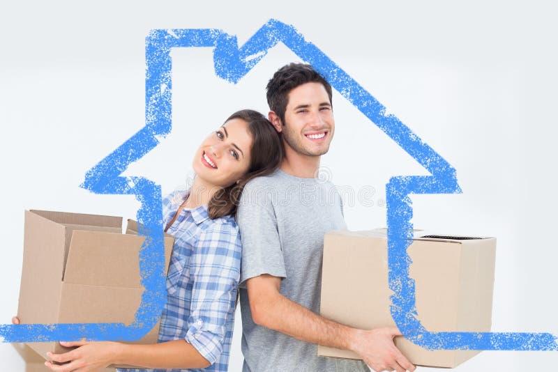 Image composée des boîtes de transport d'épouse et de mari dans leur nouvelle maison illustration stock