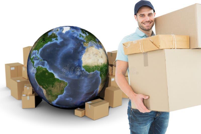 Image composée des boîtes en carton de transport heureuses de livreur illustration stock