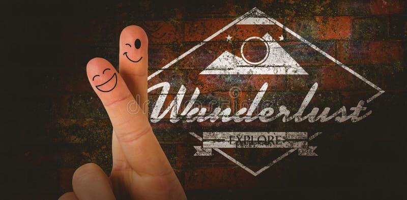 Image composée des doigts avec le visage images stock