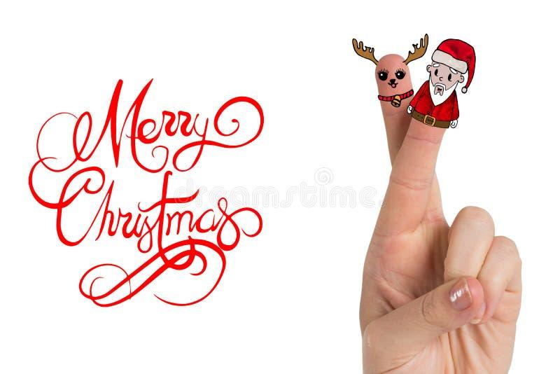 Image composée des doigts de Noël illustration stock