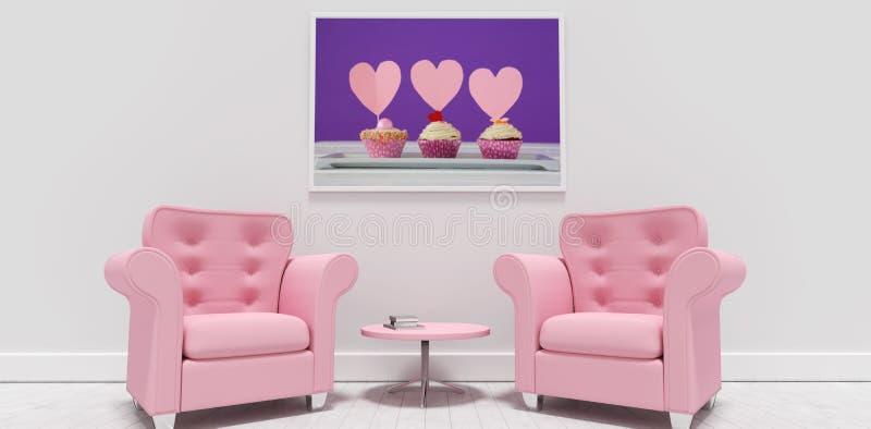 Image composée des fauteuils et de la table roses contre le cadre de tableau vide illustration stock