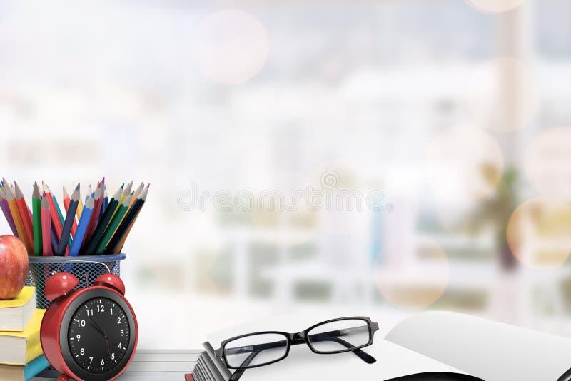 Image composée des fournitures scolaires sur le bureau illustration de vecteur