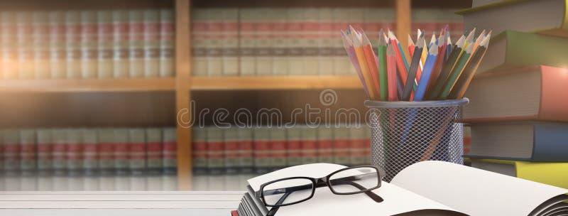 Image composée des fournitures scolaires sur le bureau illustration libre de droits