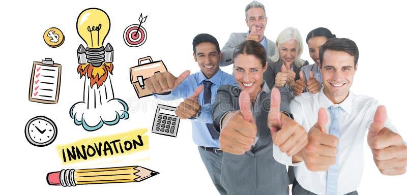 Download Image Composée Des Gens D'affaires Heureux Regardant L'appareil-photo Avec Des Pouces Photo stock - Image du heureux, groupe: 56479468