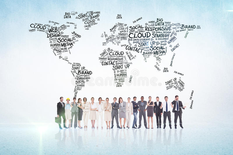 Image composée des gens d'affaires multi-ethniques se tenant côte à côte images stock
