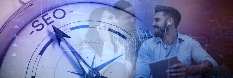 Image composée des gens d'affaires s'asseyant sur le fond blanc images libres de droits