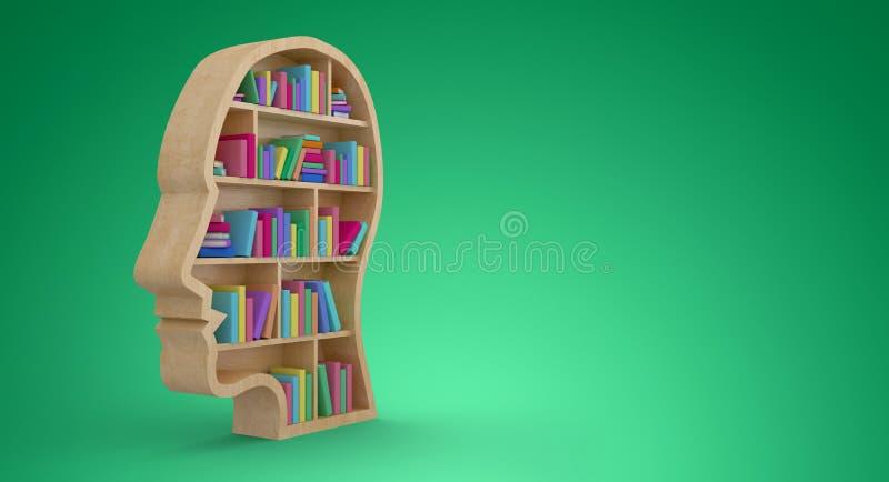 Image composée des livres colorés dans des étagères de visage humain illustration stock