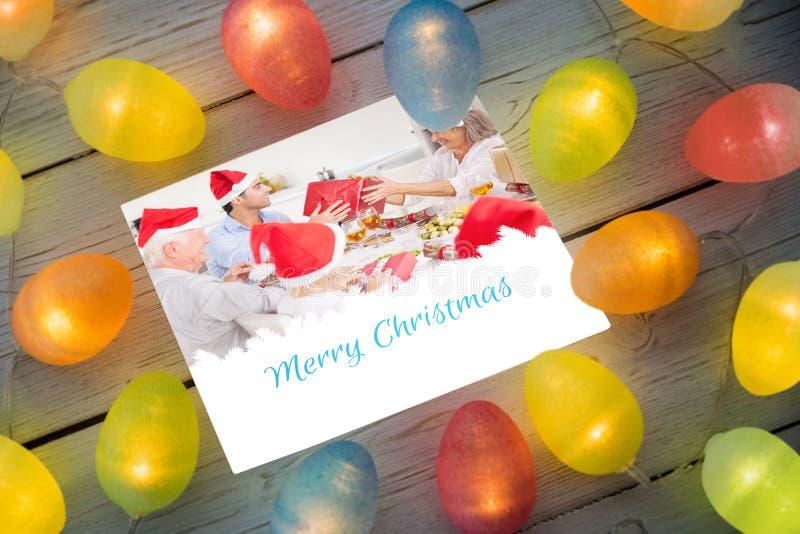 Image composée des lumières de Noël sur la table illustration stock