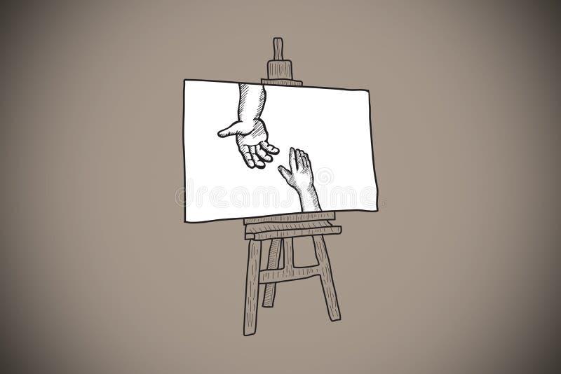Image composée des mains joignant le griffonnage sur le chevalet illustration de vecteur