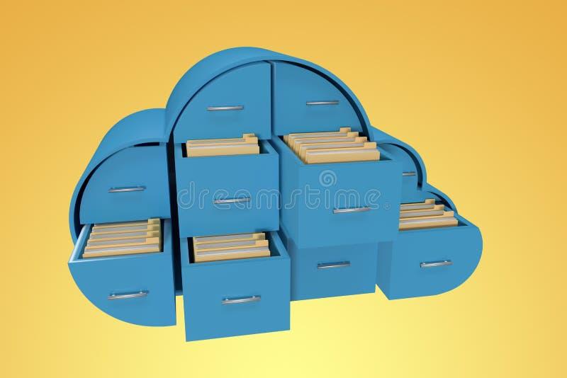 Image composée des tiroirs bleus dans la forme de nuage avec les dossiers 3d illustration libre de droits