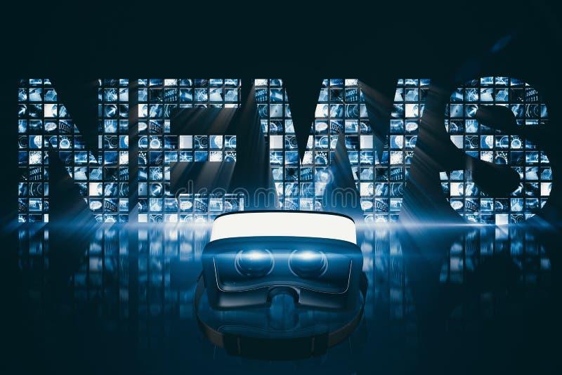Image composée du casque blanc de réalité virtuelle sur le fond blanc illustration libre de droits