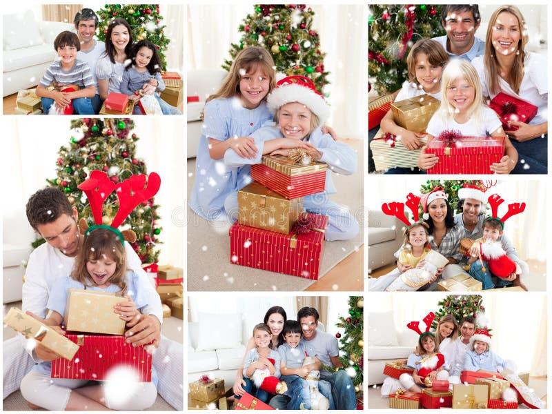 Image composée du collage des familles célébrant Noël ensemble à la maison photographie stock libre de droits