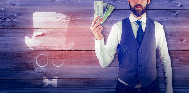 Image composée du portrait de l'homme d'affaires tenant la devise de papier photo libre de droits
