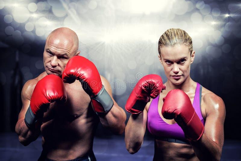 Image composée du portrait des boxeurs avec des gants photographie stock