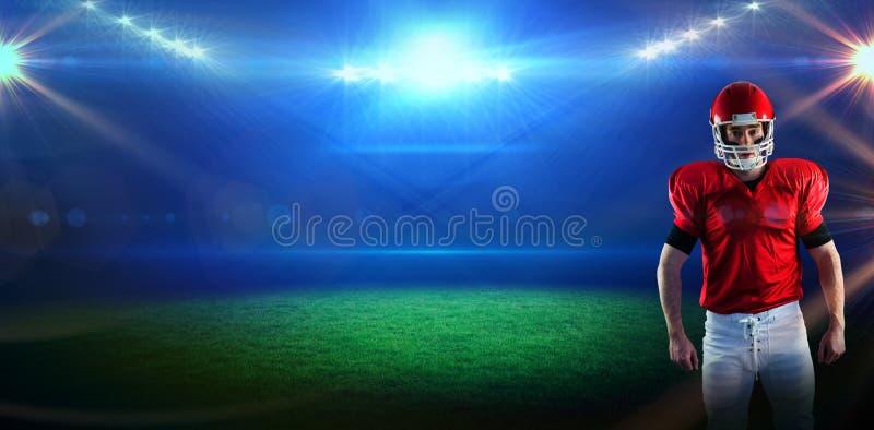 Image composée du portrait du joueur de football américain portant son casque image stock
