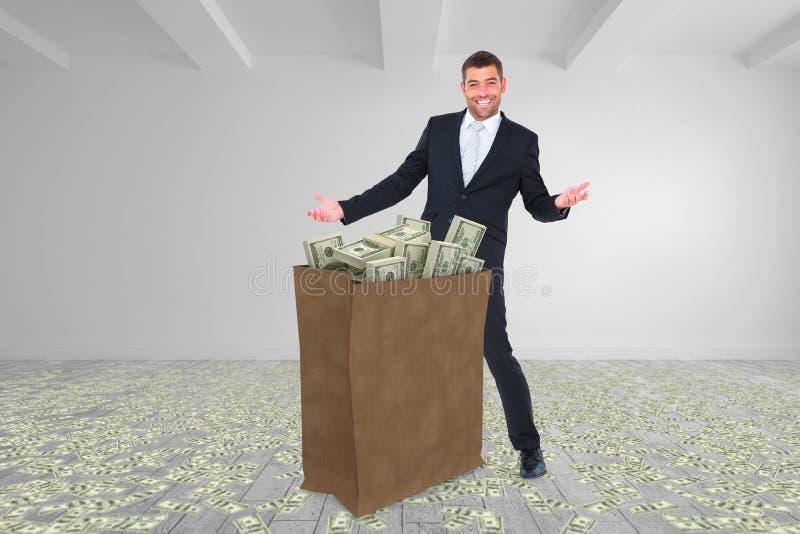Image composée du sac de transport d'homme d'affaires des dollars photographie stock libre de droits