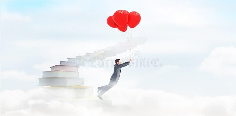 Download Image Composée Du Vol D'homme D'affaires Avec Des Ballons Photo stock - Image du instruction, beauté: 56478538