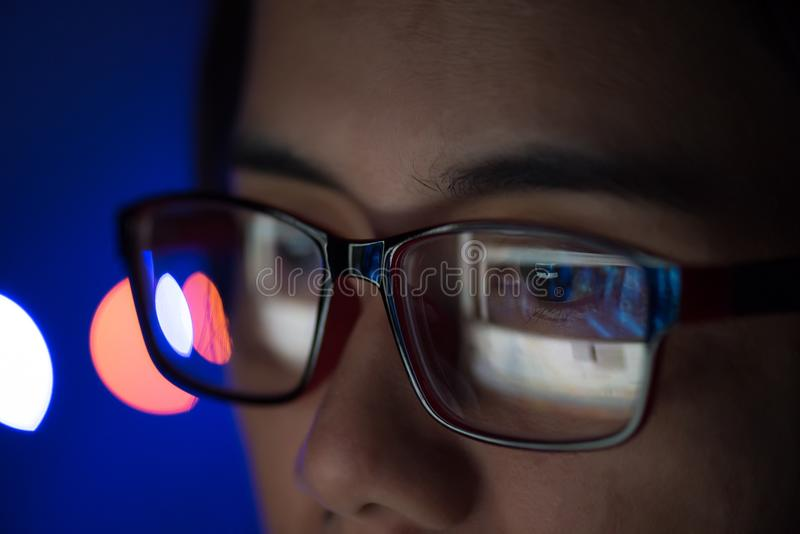 The image of computer screen in the glasess. royalty free stock photography