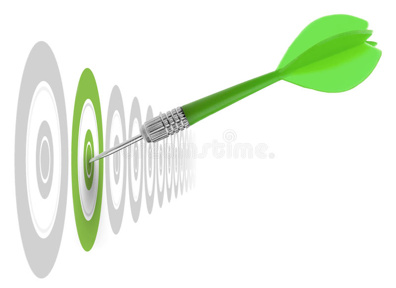 Image concept of a good marketing strategy. Successful dart reaching the green goal, symbol a success or a business challenge, the image is isolated on a white vector illustration