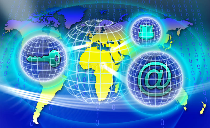 Secure World Network. An image for the concept of Secure Worldwide Network showing a map of planet earth with computer data code behind it and three sphere of