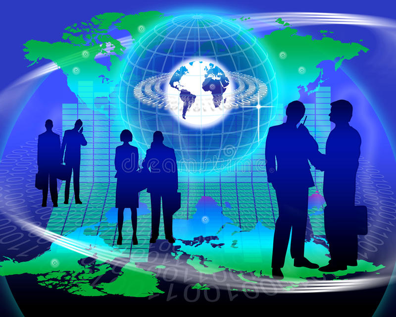 World Marketing Network Technology. An image for the concept of Worldwide Marketing Network Technology showing a map of planet earth with computer data code stock illustration