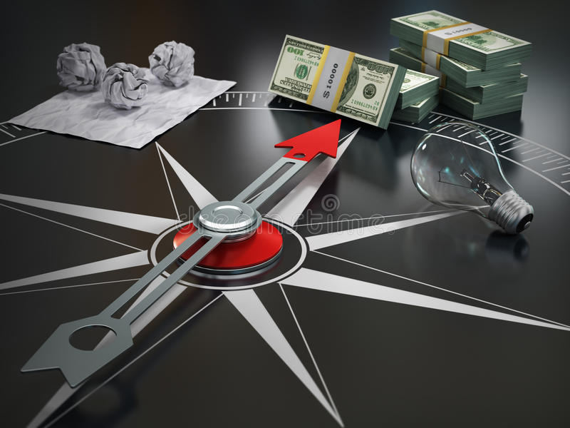 Image conceptuelle de boussole dirigeant à l'argent illustration stock