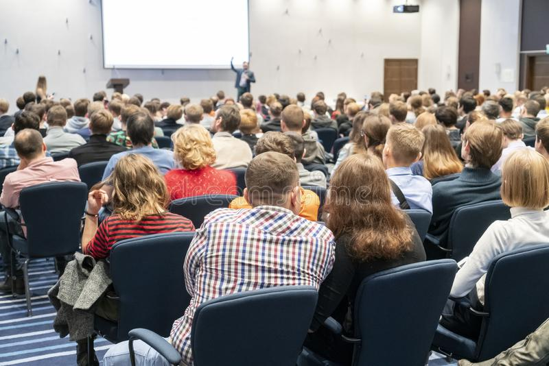 Image of a conference that takes place in a large conference room, workshop for young professionals, training in a large conferenc royalty free stock photos