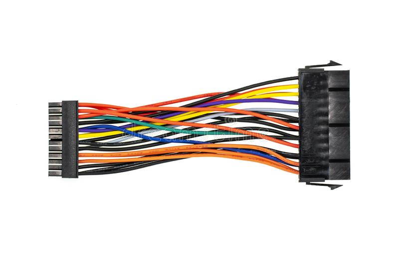 Image of connecting wires to a computer isolated on white background. Cable power to mini. Computer hardware stock image