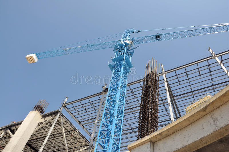 Construction crane. Image of a construction site with crane royalty free stock photo