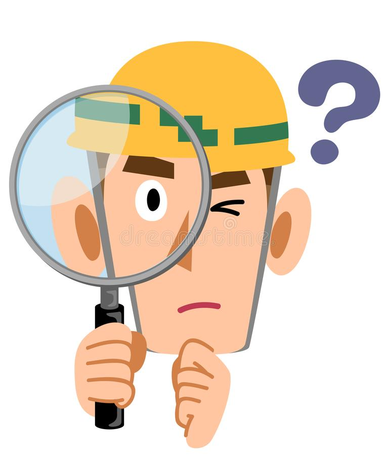 Construction site worker man looking doubtful and looking through magnifying glass. The image of a Construction site worker man looking doubtful and looking stock illustration