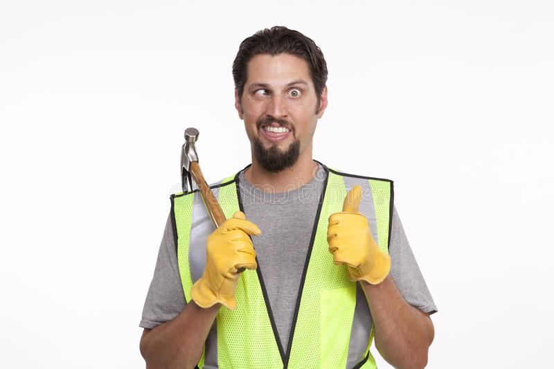 Image of a construction worker making a funny face stock image