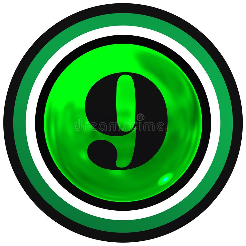 Number nine over green bright sphere with circles royalty free stock photos